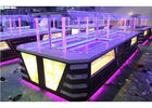 Kuning LED Commercial Buffet Peralatan Granit Marmer Tops Overhead Crystal Glass Gantry