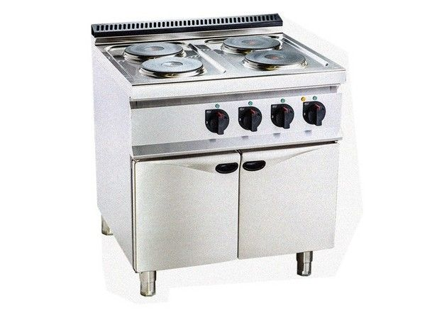 Electric 4 Hot Plate Cooker Peralatan Dapur Profesional Dengan Kabinet 800 700 920mm